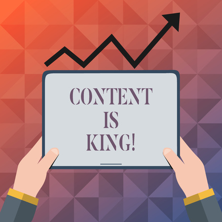 Text sign showing Content Is King. Business photo text Marketing Information Advertising Strategy