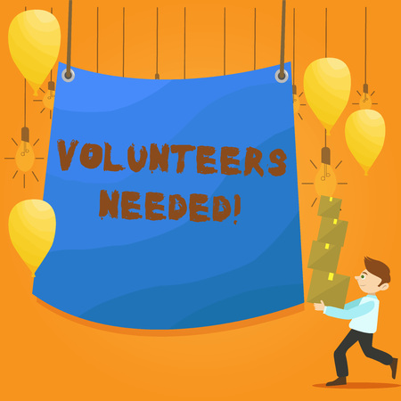 Word writing text Volunteers Needed. Business photo showcasing Social Community Charity Volunteerism