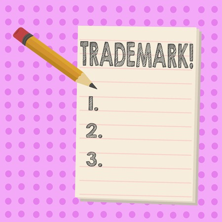 Writing note showing Trademark. Business concept for Legally registered Copyright Intellectual Property Protection