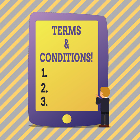 Text sign showing Terms And Conditions. Business photo showcasing Legal Law Agreement Disclaimer Restrictions Settlement 스톡 콘텐츠