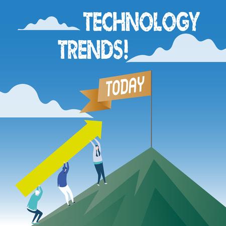 Word writing text Technology Trends. Business photo showcasing Trending Modern Viral Advanced Development Trendy New