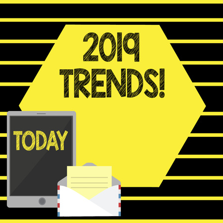 Word writing text 2019 Trends. Business photo showcasing New year developments in fashion Changes Innovations Modern Imagens