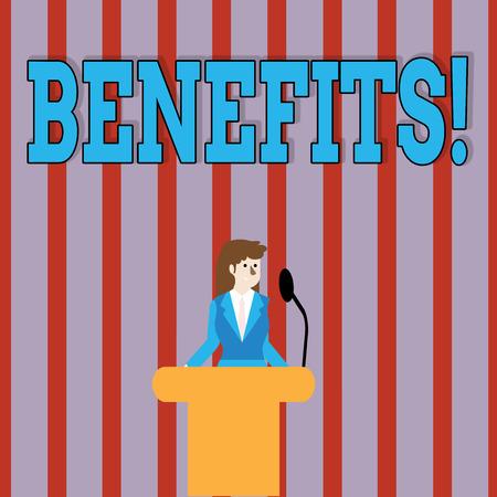 Handwriting text Benefits. Conceptual photo Advantage Insurance Compensation Interest Revenue Gain Aid