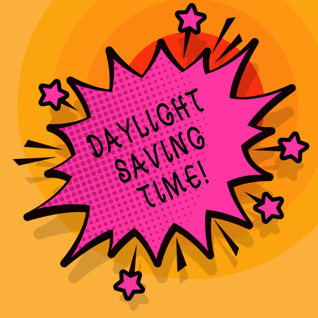 Word writing text Daylight Saving Time. Business photo showcasing advancing clocks during summer to save electricity Stock Photo - 118620985