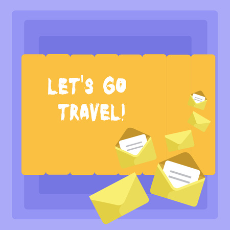 Conceptual hand writing showing Let's Go Travel. Concept meaning Going away Travelling Asking someone to go outside Trip