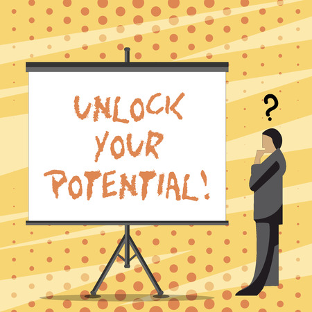 Text sign showing Unlock Your Potential. Business photo text access your true skills and powers Believe in yourself