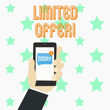 Word writing text Limited Offer. Business photo showcasing Short time special clearance Price Reduction Stock fotó