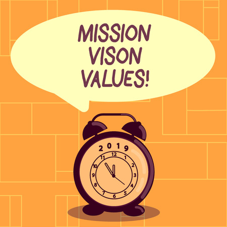 Conceptual hand writing showing Mission Vison Values. Concept meaning planning for future improvement Career Right decisions Banque d'images