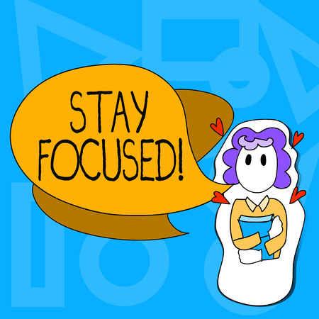 Conceptual hand writing showing Stay Focused. Concept meaning Maintain Focus Inspirational Thinking Imagens - 118668489