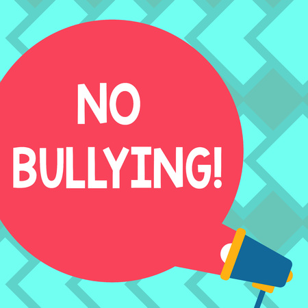 Text sign showing No Bullying. Business photo text Forbidden Abuse Harassment Aggression Assault Blank Round Color Speech Bubble Coming Out of Megaphone for Announcement
