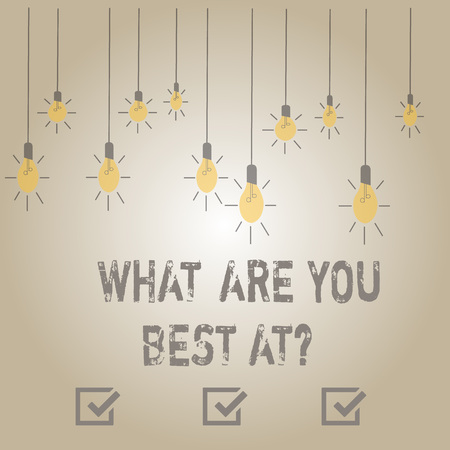 Writing note showing What Are You Best At question. Business concept for Individual creativity is a unique capability