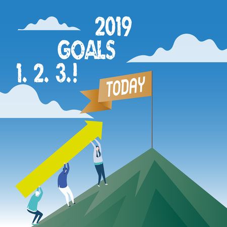 Word writing text 2019 Goals 1 2 3. Business photo showcasing Resolution Organize Beginnings Future Plans Stock Photo