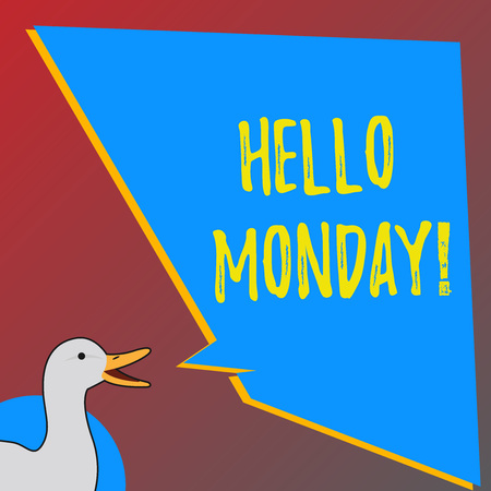 Text sign showing Hello monday. Business photo showcasing Positive Message for a new day Week Start Фото со стока