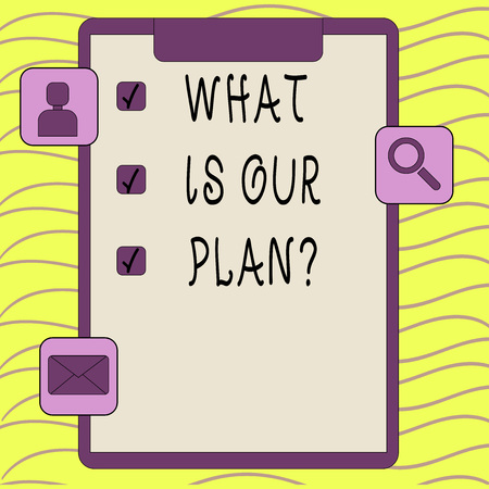 Word writing text What Is Our Plan question. Business photo showcasing Mission Purpose Agenda Strategize Brainstorming Stockfoto