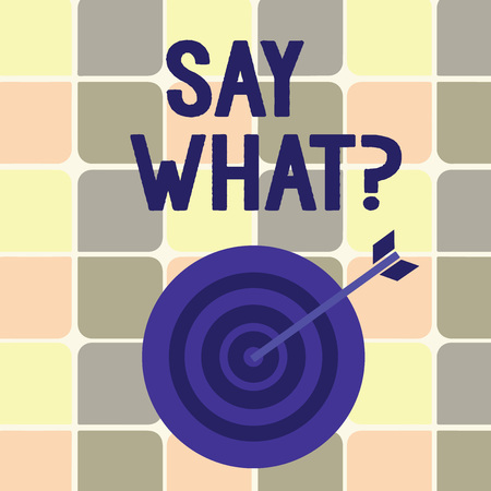 Text sign showing Say Whatquestion. Business photo showcasing Repeat the thing you said Astonishment Surprise Expression