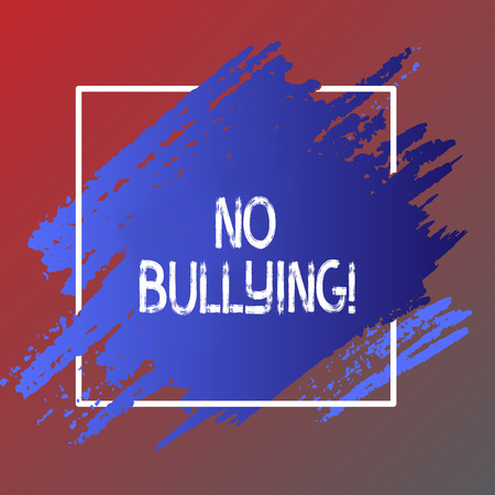 Text sign showing No Bullying. Business photo showcasing Forbidden Abuse Harassment Aggression Assault Imagens