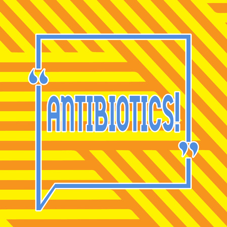 Conceptual hand writing showing Antibiotics. Concept meaning Antibacterial Drug Disinfectant Aseptic Sterilizing Sanitary