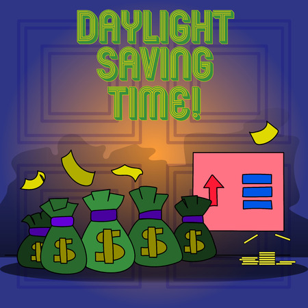 Handwriting text writing Daylight Saving Time. Conceptual photo advancing clocks during summer to save electricity Stock Photo