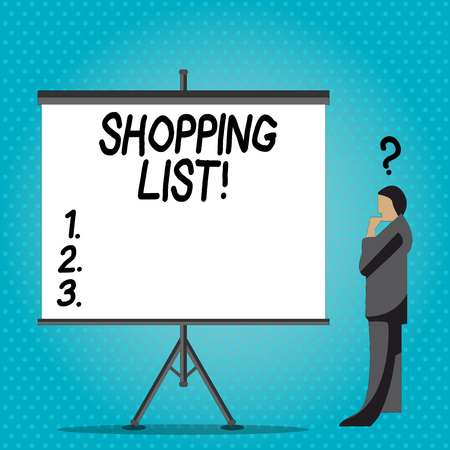 Handwriting text writing Shopping List. Conceptual photo Products Groceries you need to buy Supermarket Checklist