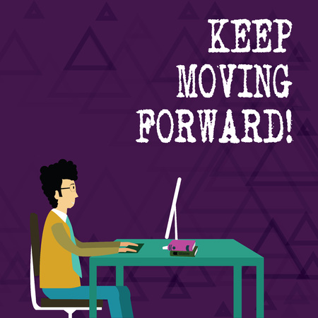 Writing note showing Keep Moving Forward. Business concept for Optimism Progress Persevere Move