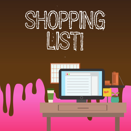 Conceptual hand writing showing Shopping List. Concept meaning Products Groceries you need to buy Supermarket Checklist
