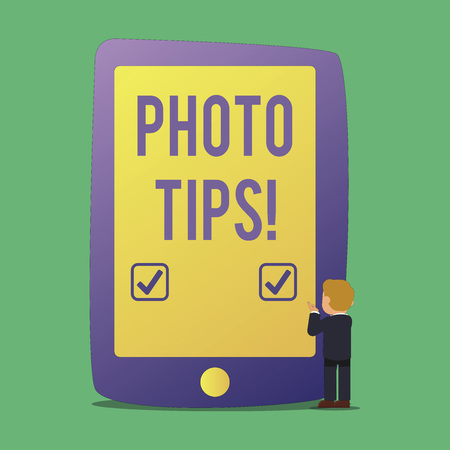 Word writing text Photo Tips. Business photo showcasing Suggestions to take good pictures Advices for great photography