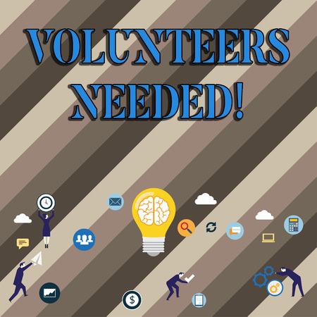 Conceptual hand writing showing Volunteers Needed. Concept meaning Social Community Charity Volunteerism Banque d'images - 118679067