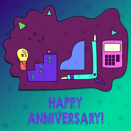 Conceptual hand writing showing Happy Anniversary. Concept meaning Annual Special Milestone Commemoration