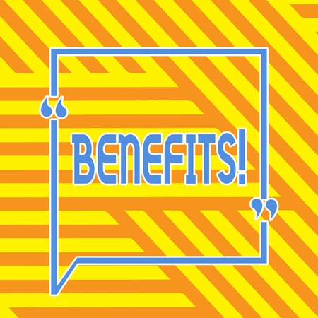 Conceptual hand writing showing Benefits. Concept meaning Advantage Insurance Compensation Interest Revenue Gain Aid 版權商用圖片