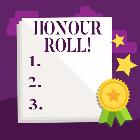 Handwriting text Honour Roll. Conceptual photo List of students who have earned grades above a specific average Stock Photo
