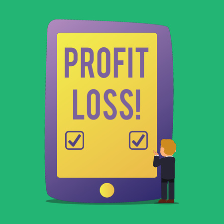 Word writing text Profit Loss. Business photo showcasing Financial year end account contains total revenues and expenses