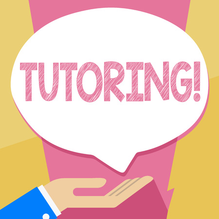 Writing note showing Tutoring. Business concept for Mentoring Teaching Instructing Preparing Supporting Give lessons Banque d'images
