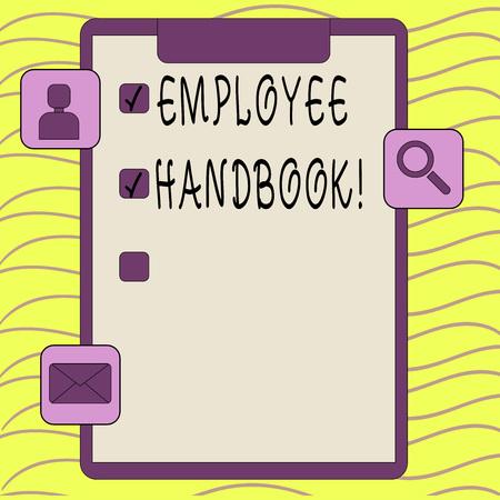 Word writing text Employee Handbook. Business photo showcasing Document Manual Regulations Rules Guidebook Policy Code Reklamní fotografie