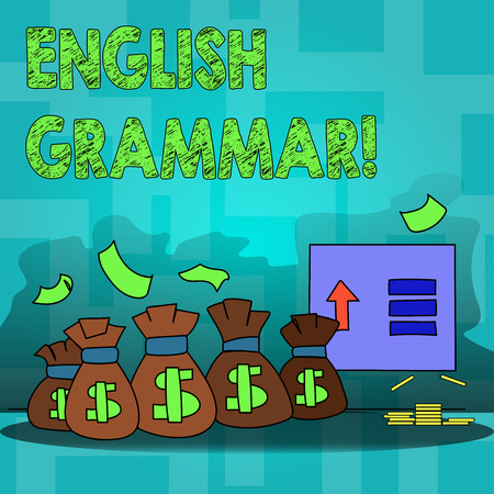 Text sign showing English Grammar. Business photo text Language Knowledge School Education Literature Reading