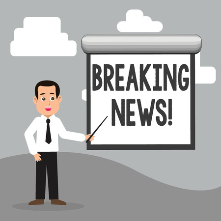 Text sign showing Breaking News. Business photo showcasing Updated press report Latest information Stock Photo