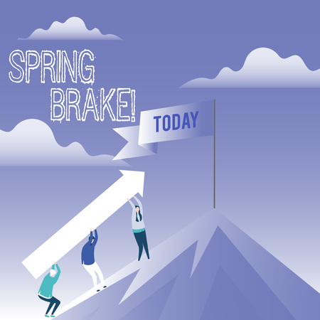 Word writing text Spring Brake. Business photo showcasing Easter week School vacation for students Party Relax Leisure
