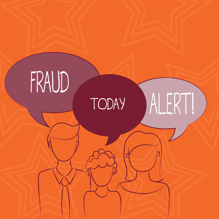 Writing note showing Fraud Alert. Business concept for Security Message Fraudulent activity suspected Stock Photo