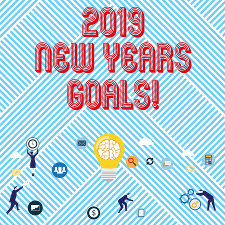 Text sign showing 2019 New Years Goals. Business photo text resolution List of things you want to achieve Stock Photo