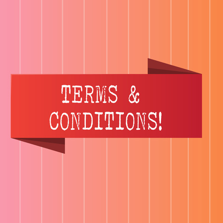 Writing note showing Terms And Conditions. Business concept for Legal Law Agreement Disclaimer Restrictions Settlement