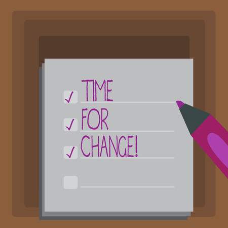Writing note showing Time For Change. Business concept for Transition Grow Improve Transform Develop Stock Photo