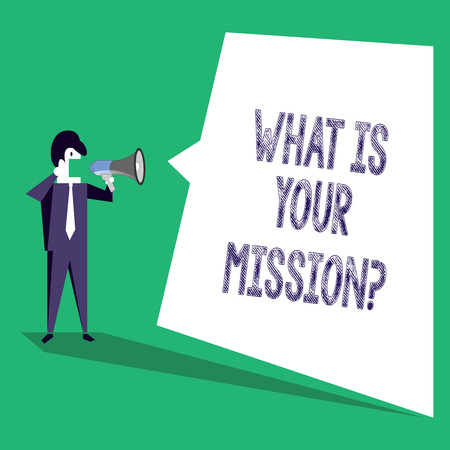 Text sign showing What Is Your Mission question. Business photo text Positive goal focusing on achieving success Imagens - 118710302