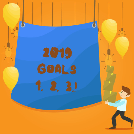 Word writing text 2019 Goals 1 2 3. Business photo showcasing Resolution Organize Beginnings Future Plans Stock fotó - 118710157
