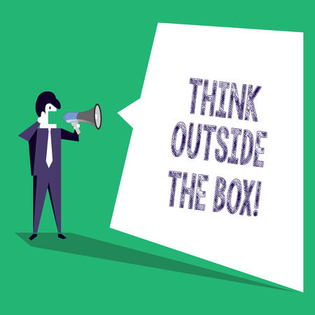 Text sign showing Think Outside The Box. Business photo text Thinking of new and creative solution leads to success