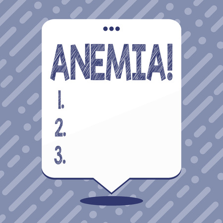Text sign showing Anemia. Business photo showcasing Bloodlessness Disease Severe Blood Loss Illness Sick Iron Deficiency