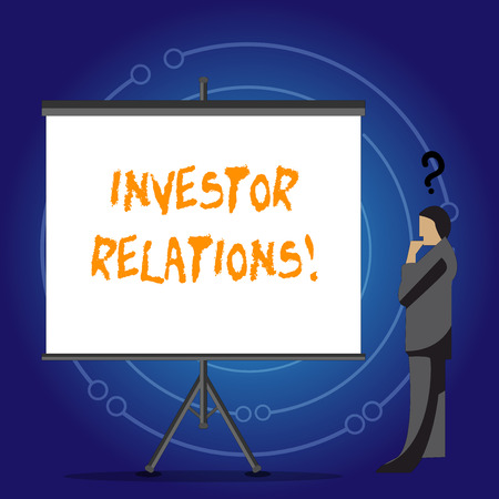 Conceptual hand writing showing Investor Relations. Concept meaning Finance Investment Relationship Negotiate Shareholder