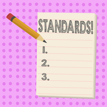 Writing note showing Standards. Business concept for Quality Controls Regulations Guidelines