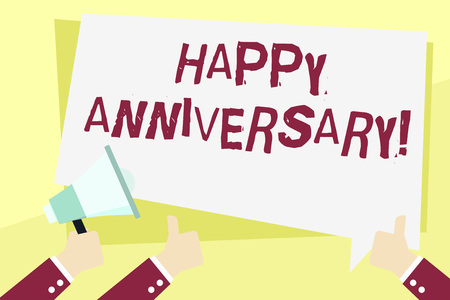 Word writing text Happy Anniversary. Business photo showcasing Annual Special Milestone Commemoration