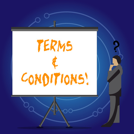 Conceptual hand writing showing Terms And Conditions. Concept meaning Legal Law Agreement Disclaimer Restrictions Settlement