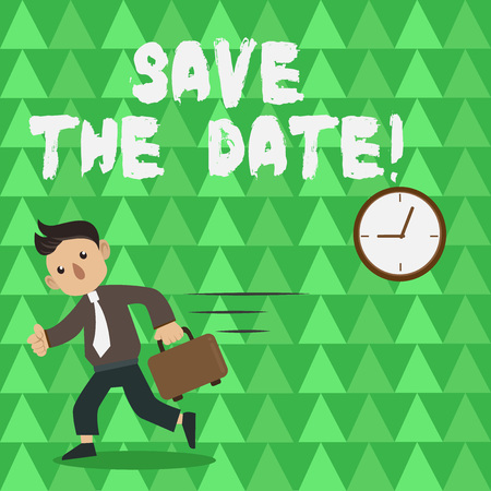 Conceptual hand writing showing Save The Date. Concept meaning Remember not to schedule anything that time