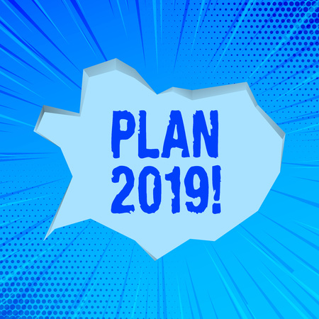 Writing note showing Plan 2019. Business concept for Challenging Ideas Goals for New Year Motivation to Start Stockfoto